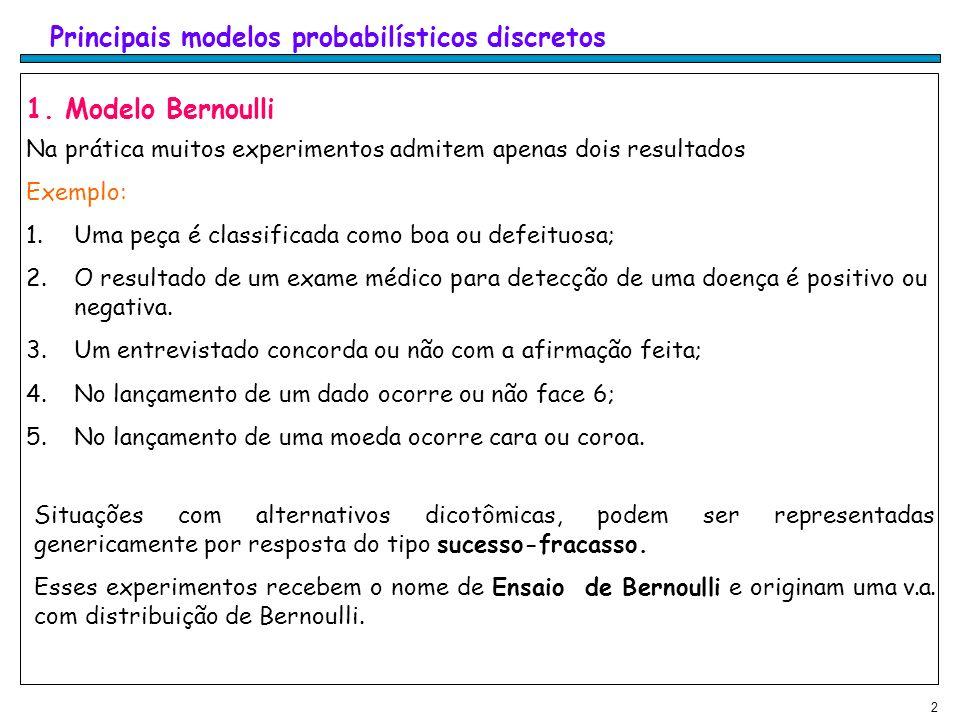 2 Principais modelos probabilísticos discretos 1. Modelo Bernoulli Na prática muitos experimentos admitem apenas dois resultados Exemplo: 1.Uma peça é