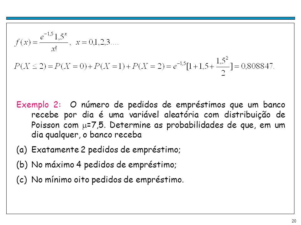 20 Exemplo 2: O número de pedidos de empréstimos que um banco recebe por dia é uma variável aleatória com distribuição de Poisson com =7,5. Determine