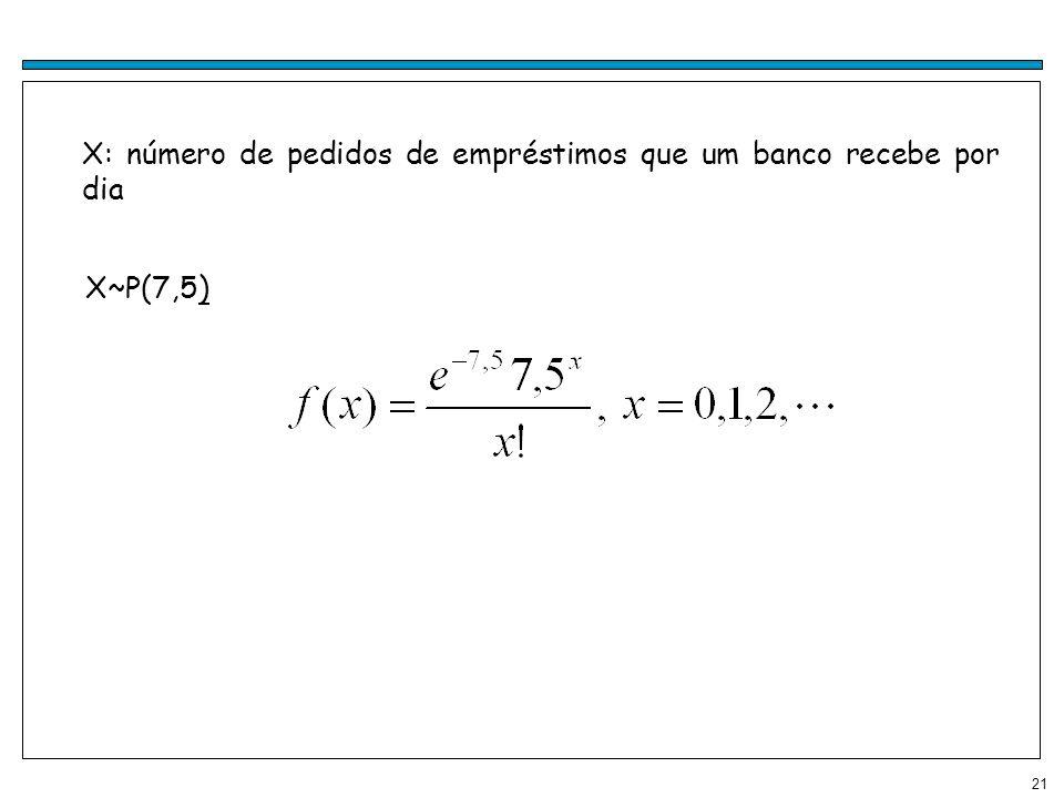 21 X: número de pedidos de empréstimos que um banco recebe por dia X~P(7,5)
