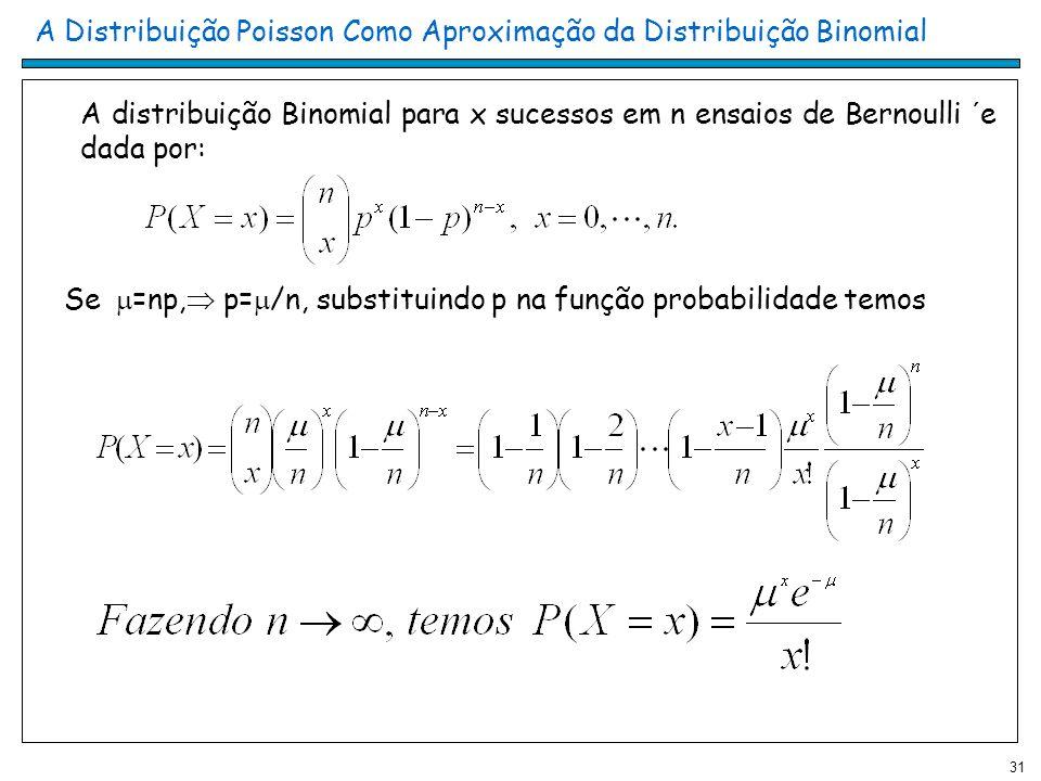 31 A Distribuição Poisson Como Aproximação da Distribuição Binomial A distribuição Binomial para x sucessos em n ensaios de Bernoulli ´e dada por: Se =np, p= /n, substituindo p na função probabilidade temos