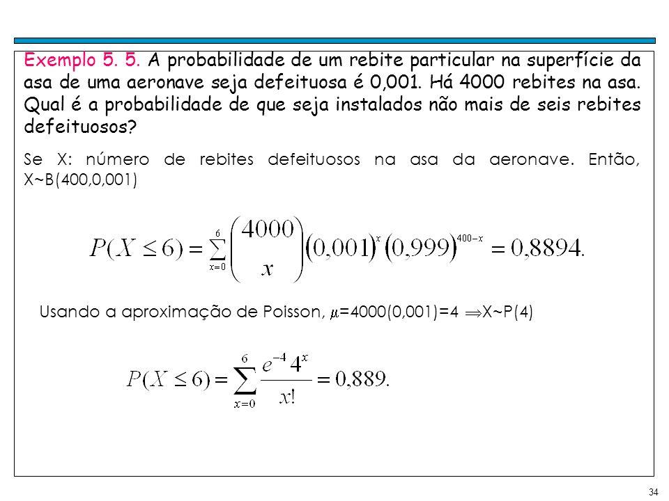 34 Exemplo 5. 5. A probabilidade de um rebite particular na superfície da asa de uma aeronave seja defeituosa é 0,001. Há 4000 rebites na asa. Qual é