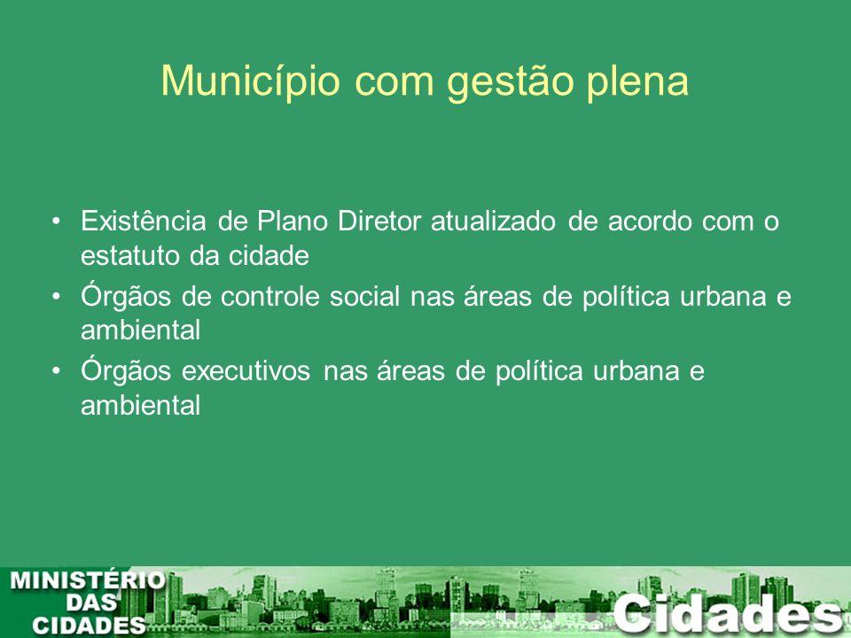 Município com gestão plena Existência de Plano Diretor atualizado de acordo com o estatuto da cidade Órgãos de controle social nas áreas de política u