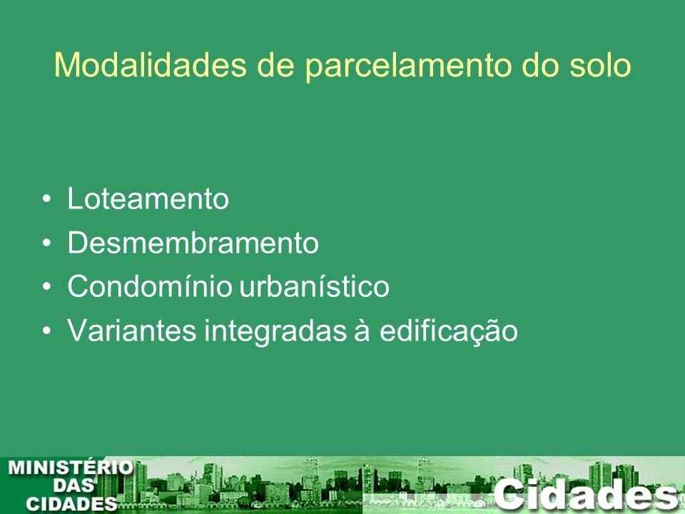 Modalidades de parcelamento do solo Loteamento Desmembramento Condomínio urbanístico Variantes integradas à edificação