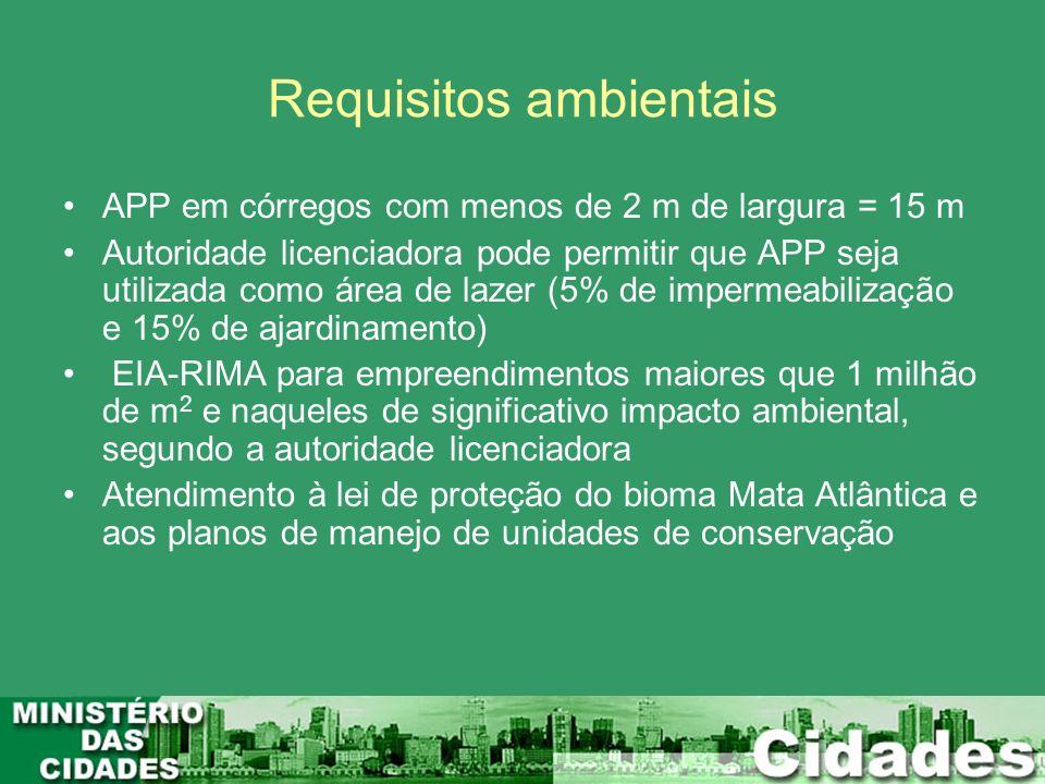 Requisitos ambientais APP em córregos com menos de 2 m de largura = 15 m Autoridade licenciadora pode permitir que APP seja utilizada como área de laz