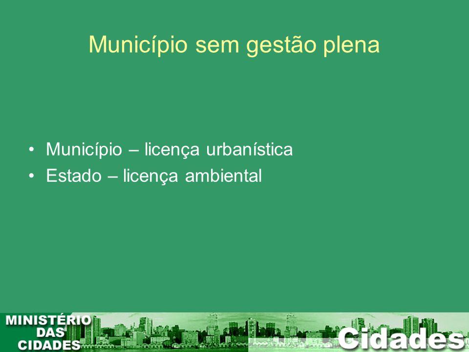 Município sem gestão plena Município – licença urbanística Estado – licença ambiental