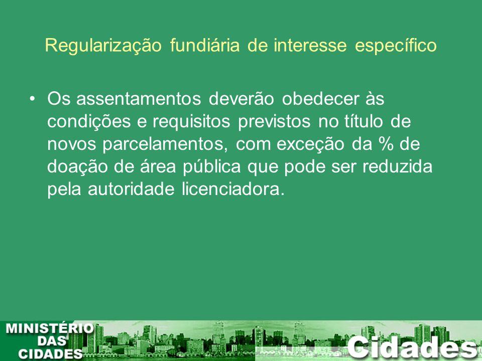 Regularização fundiária de interesse específico Os assentamentos deverão obedecer às condições e requisitos previstos no título de novos parcelamentos