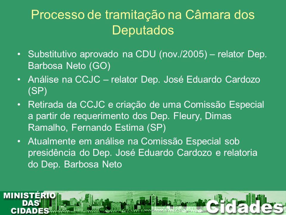 Processo de tramitação na Câmara dos Deputados Substitutivo aprovado na CDU (nov./2005) – relator Dep. Barbosa Neto (GO) Análise na CCJC – relator Dep