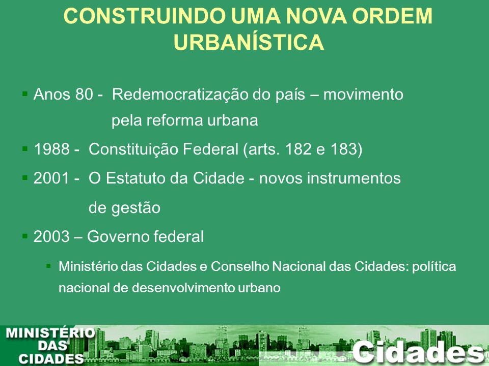 Anos 80 - Redemocratização do país – movimento pela reforma urbana 1988 - Constituição Federal (arts. 182 e 183) 2001 - O Estatuto da Cidade - novos i