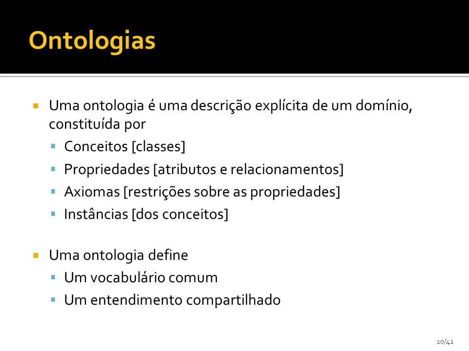 10/42 Uma ontologia é uma descrição explícita de um domínio, constituída por Conceitos [classes] Propriedades [atributos e relacionamentos] Axiomas [r