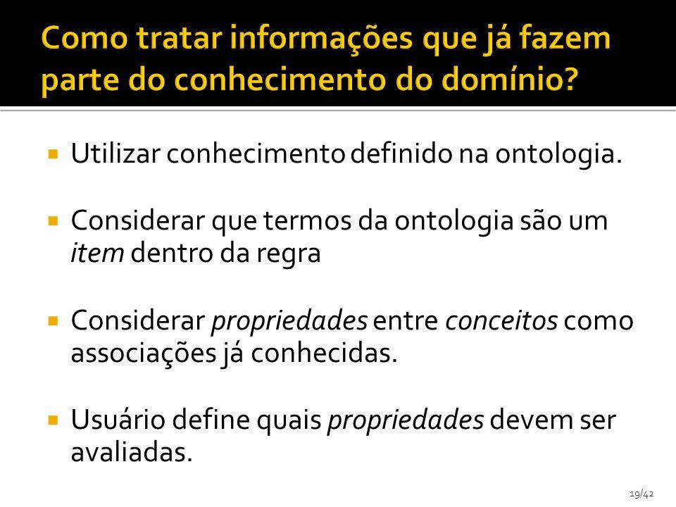 19/42 Utilizar conhecimento definido na ontologia. Considerar que termos da ontologia são um item dentro da regra Considerar propriedades entre concei