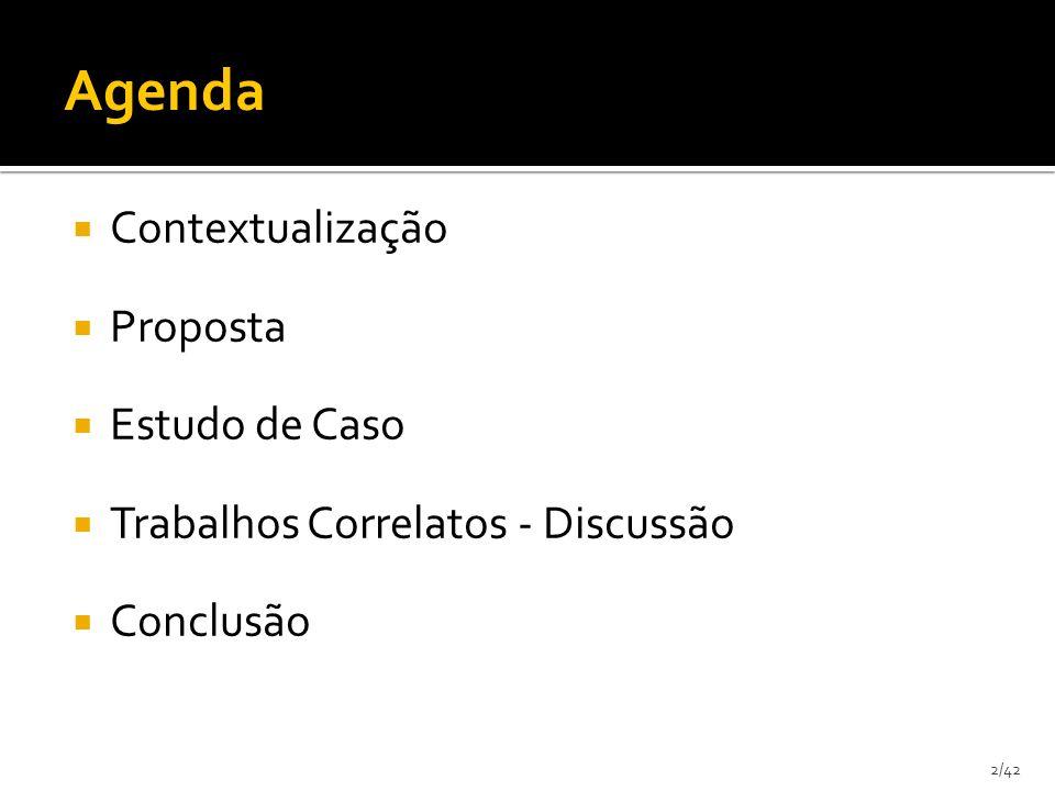 13/42 Contextualização Proposta Problemas Anotações Semânticas Filtro de Regras Estudo de Caso Discussão - Trabalhos Correlatos Conclusão Agenda