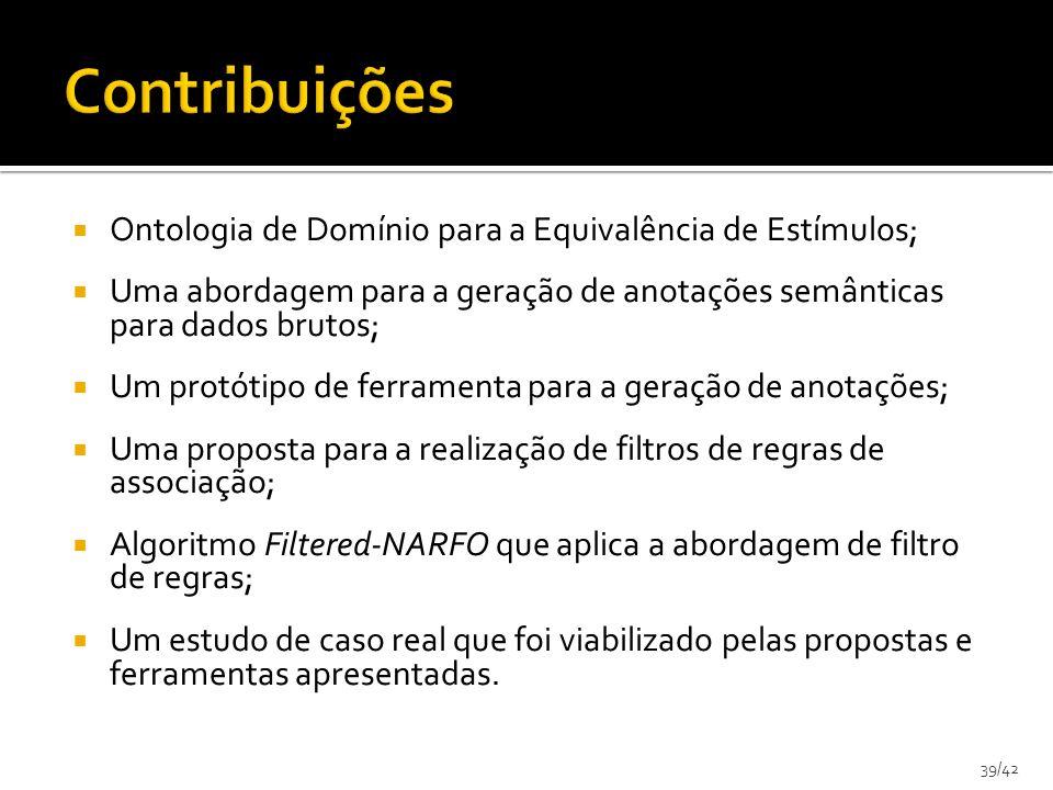 39/42 Ontologia de Domínio para a Equivalência de Estímulos; Uma abordagem para a geração de anotações semânticas para dados brutos; Um protótipo de f