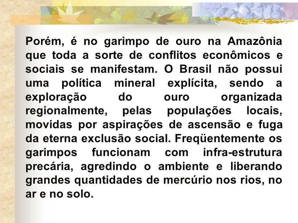 Porém, é no garimpo de ouro na Amazônia que toda a sorte de conflitos econômicos e sociais se manifestam. O Brasil não possui uma política mineral exp