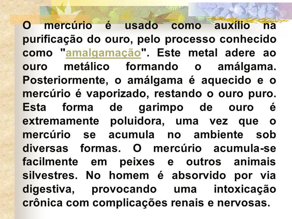 O mercúrio é usado como auxílio na purificação do ouro, pelo processo conhecido como
