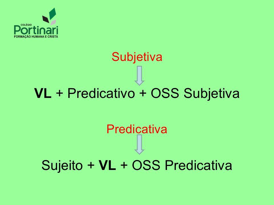 Subjetiva VL + Predicativo + OSS Subjetiva Predicativa Sujeito + VL + OSS Predicativa