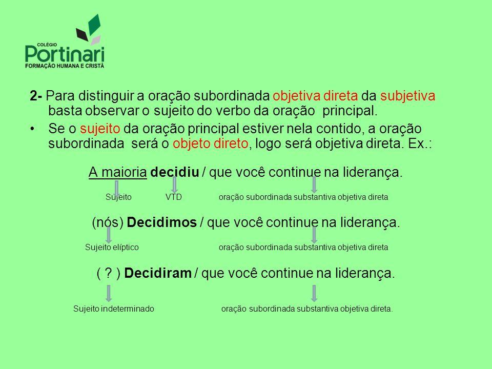 2- Para distinguir a oração subordinada objetiva direta da subjetiva basta observar o sujeito do verbo da oração principal. Se o sujeito da oração pri