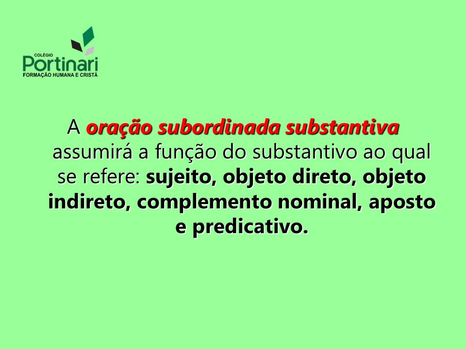 A oração subordinada substantiva assumirá a função do substantivo ao qual se refere: sujeito, objeto direto, objeto indireto, complemento nominal, aposto e predicativo.