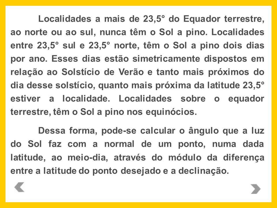 Localidades a mais de 23,5° do Equador terrestre, ao norte ou ao sul, nunca têm o Sol a pino. Localidades entre 23,5° sul e 23,5° norte, têm o Sol a p