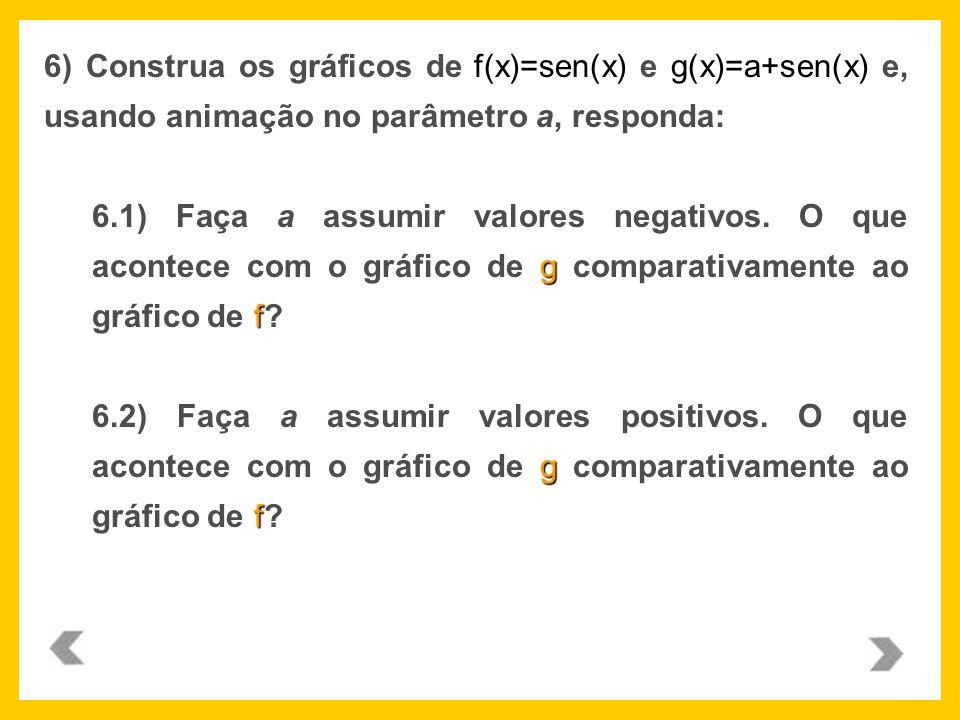 f(x)=sen(x)g(x)=a+sen(x) 6) Construa os gráficos de f(x)=sen(x) e g(x)=a+sen(x) e, usando animação no parâmetro a, responda: g f 6.1) Faça a assumir v