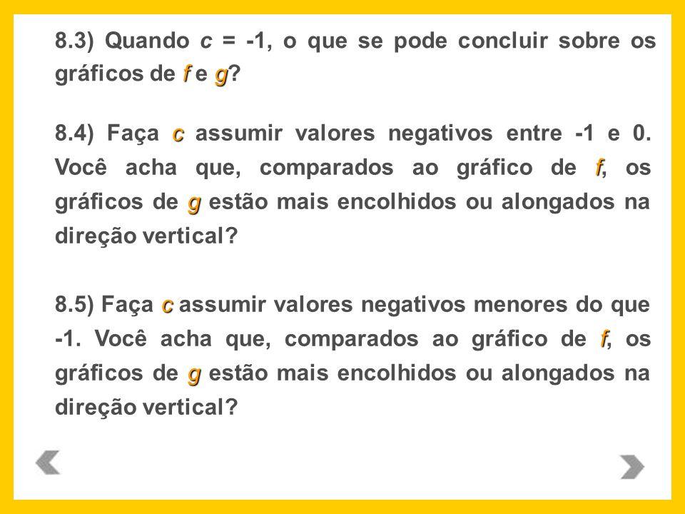 fg 8.3) Quando c = -1, o que se pode concluir sobre os gráficos de f e g? c f g 8.4) Faça c assumir valores negativos entre -1 e 0. Você acha que, com