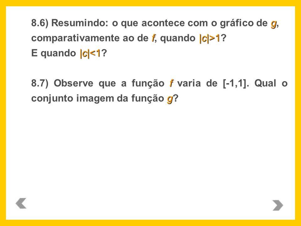 g f|c|>1 |c| 1? E quando |c|<1? f g 8.7) Observe que a função f varia de [-1,1]. Qual o conjunto imagem da função g?