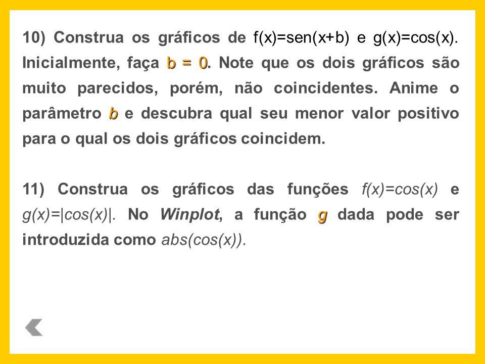 f(x)=sen(x+b) e g(x)=cos(x). b = 0 b 10) Construa os gráficos de f(x)=sen(x+b) e g(x)=cos(x). Inicialmente, faça b = 0. Note que os dois gráficos são