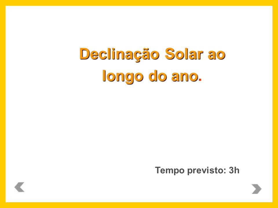 Declinação Solar ao longo do ano longo do ano. Tempo previsto: 3h