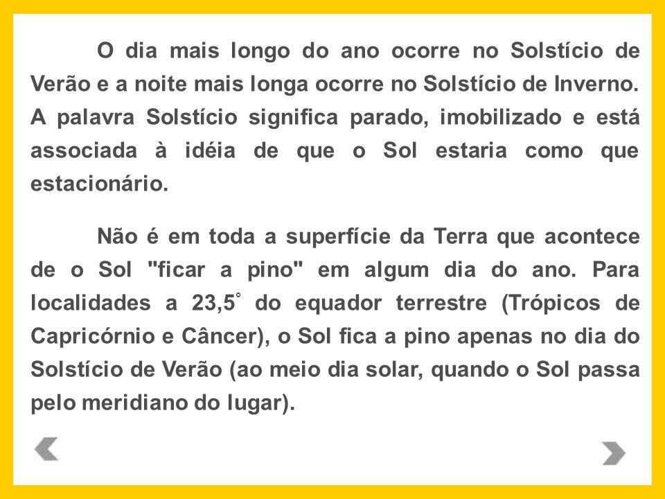 Localidades a mais de 23,5° do Equador terrestre, ao norte ou ao sul, nunca têm o Sol a pino.