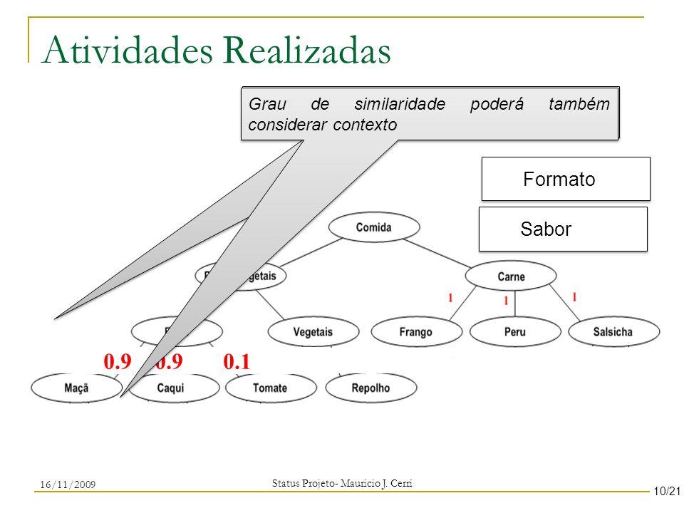 Atividades Realizadas Status Projeto- Mauricio J. Cerri 10/21 Grau de especialização considerando contexto Formato 0.8 0.6 0.7 Sabor 0.9 0.9 0.1 Grau