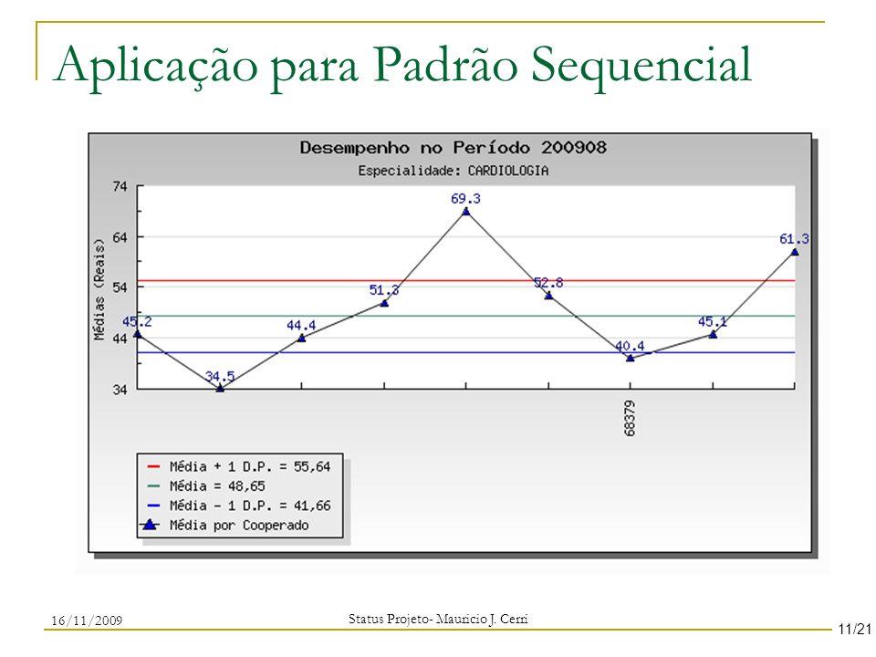 Aplicação para Padrão Sequencial Status Projeto- Mauricio J. Cerri 11/21 16/11/2009