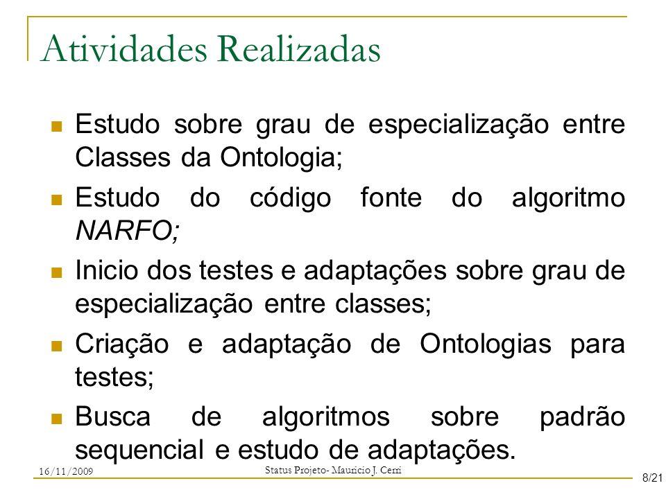 Atividades Realizadas Estudo sobre grau de especialização entre Classes da Ontologia; Estudo do código fonte do algoritmo NARFO; Inicio dos testes e a