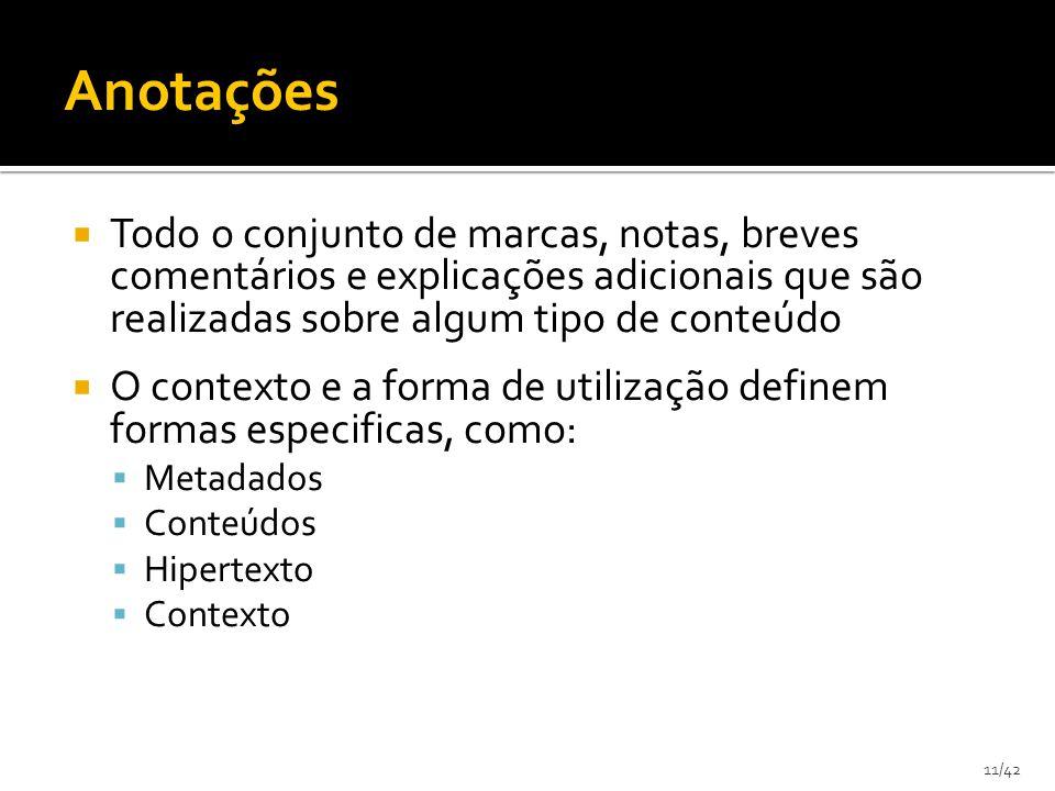 11/42 Todo o conjunto de marcas, notas, breves comentários e explicações adicionais que são realizadas sobre algum tipo de conteúdo O contexto e a forma de utilização definem formas especificas, como: Metadados Conteúdos Hipertexto Contexto Anotações