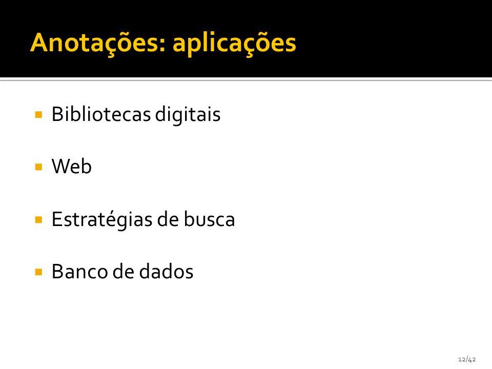12/42 Bibliotecas digitais Web Estratégias de busca Banco de dados Anotações: aplicações