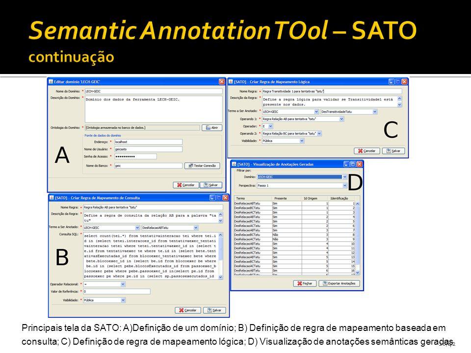 18/42 Principais tela da SATO: A)Definição de um domínio; B) Definição de regra de mapeamento baseada em consulta; C) Definição de regra de mapeamento lógica; D) Visualização de anotações semânticas geradas