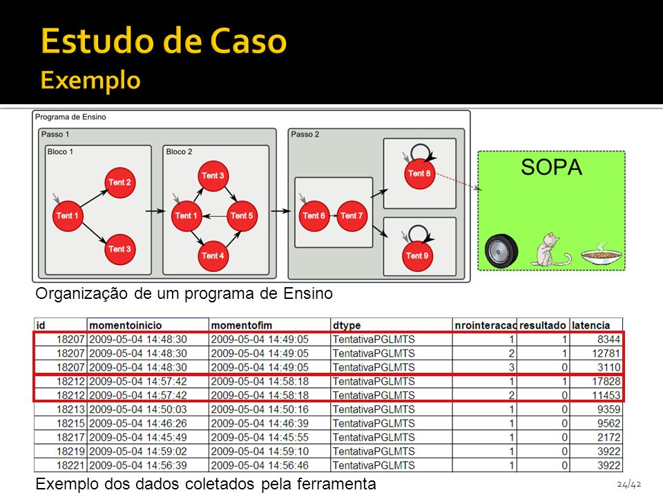 24/42 Organização de um programa de Ensino Exemplo dos dados coletados pela ferramenta