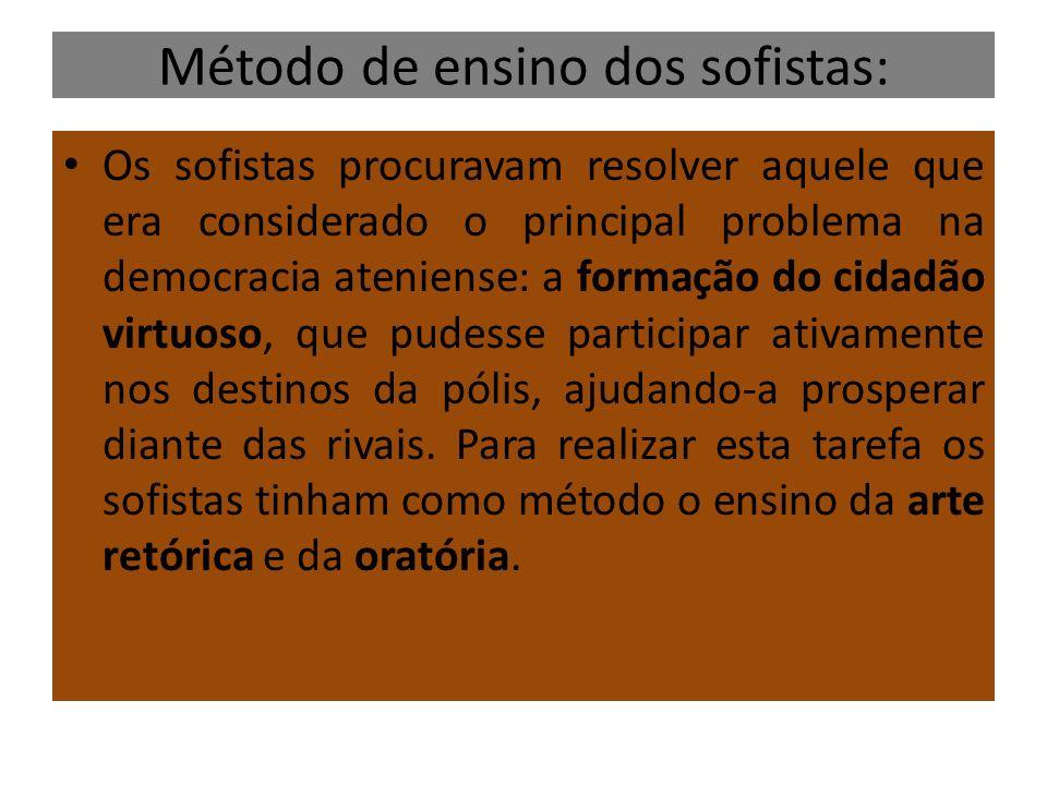 Método de ensino dos sofistas: Os sofistas procuravam resolver aquele que era considerado o principal problema na democracia ateniense: a formação do