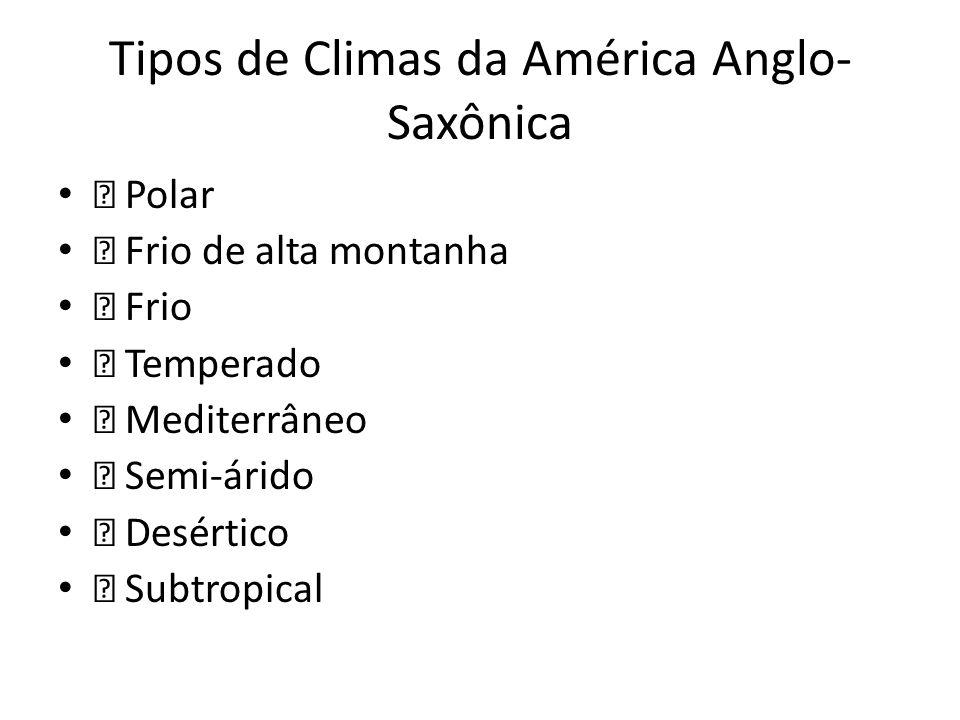 Tipos de Climas da América Anglo- Saxônica — Polar — Frio de alta montanha — Frio — Temperado — Mediterrâneo — Semi-árido — Desértico — Subtropical