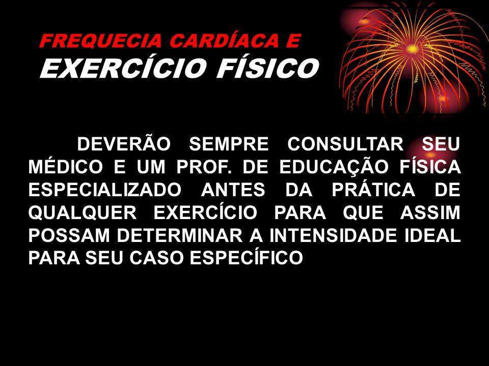 FREQUECIA CARDÍACA E EXERCÍCIO FÍSICO DEVERÃO SEMPRE CONSULTAR SEU MÉDICO E UM PROF. DE EDUCAÇÃO FÍSICA ESPECIALIZADO ANTES DA PRÁTICA DE QUALQUER EXE