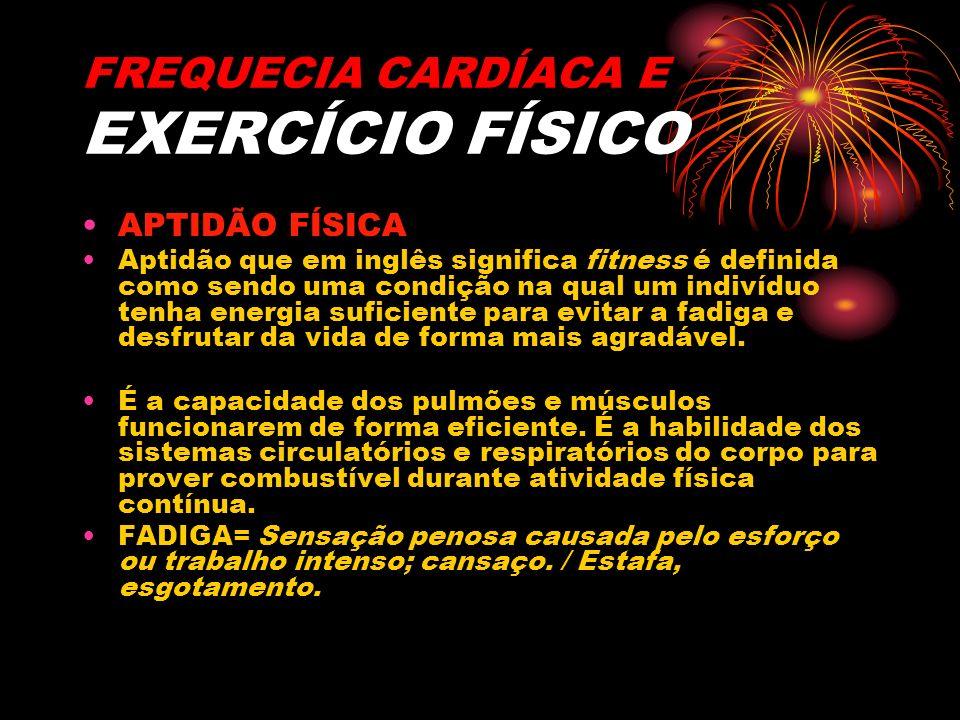 FREQUECIA CARDÍACA E EXERCÍCIO FÍSICO APTIDÃO FÍSICA Aptidão que em inglês significa fitness é definida como sendo uma condição na qual um indivíduo t