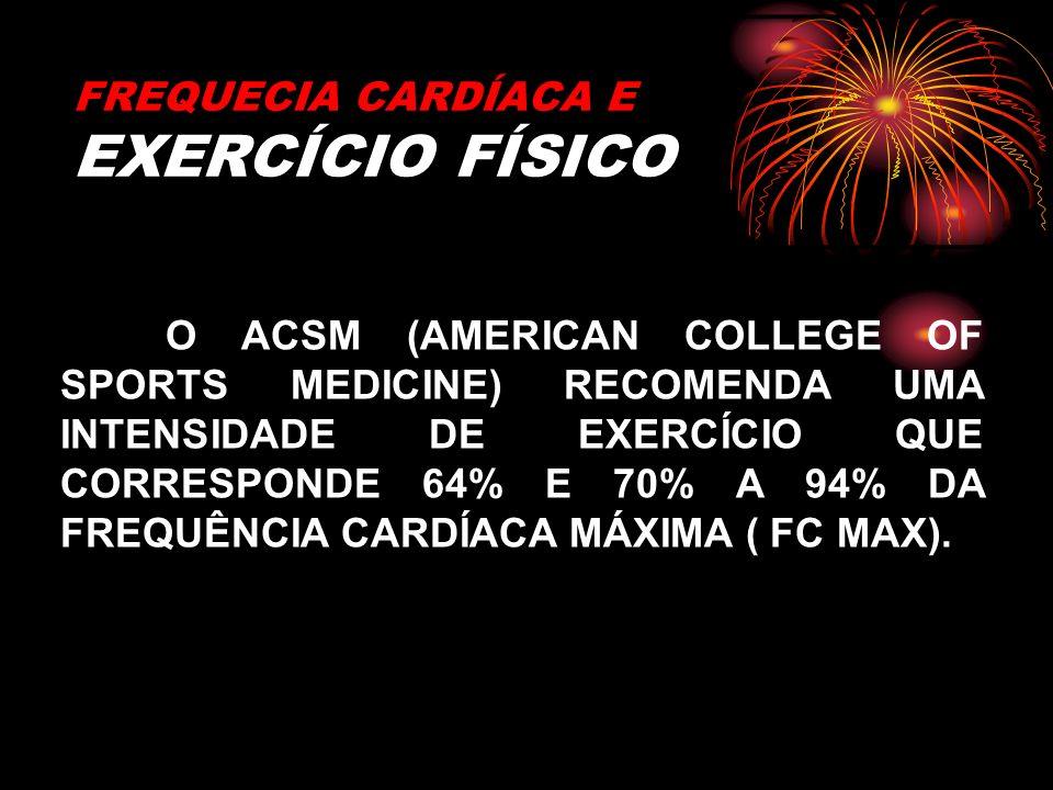 FREQUECIA CARDÍACA E EXERCÍCIO FÍSICO O ACSM (AMERICAN COLLEGE OF SPORTS MEDICINE) RECOMENDA UMA INTENSIDADE DE EXERCÍCIO QUE CORRESPONDE 64% E 70% A