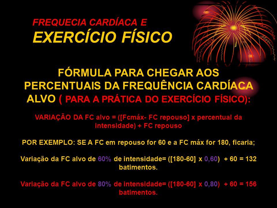 FREQUECIA CARDÍACA E EXERCÍCIO FÍSICO FÓRMULA PARA CHEGAR AOS PERCENTUAIS DA FREQUÊNCIA CARDÍACA ALVO ( PARA A PRÁTICA DO EXERCÍCIO FÍSICO): VARIAÇÃO