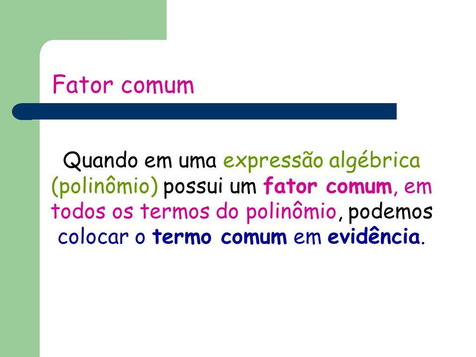 Fator comum Quando em uma expressão algébrica (polinômio) possui um fator comum, em todos os termos do polinômio, podemos colocar o termo comum em evidência.