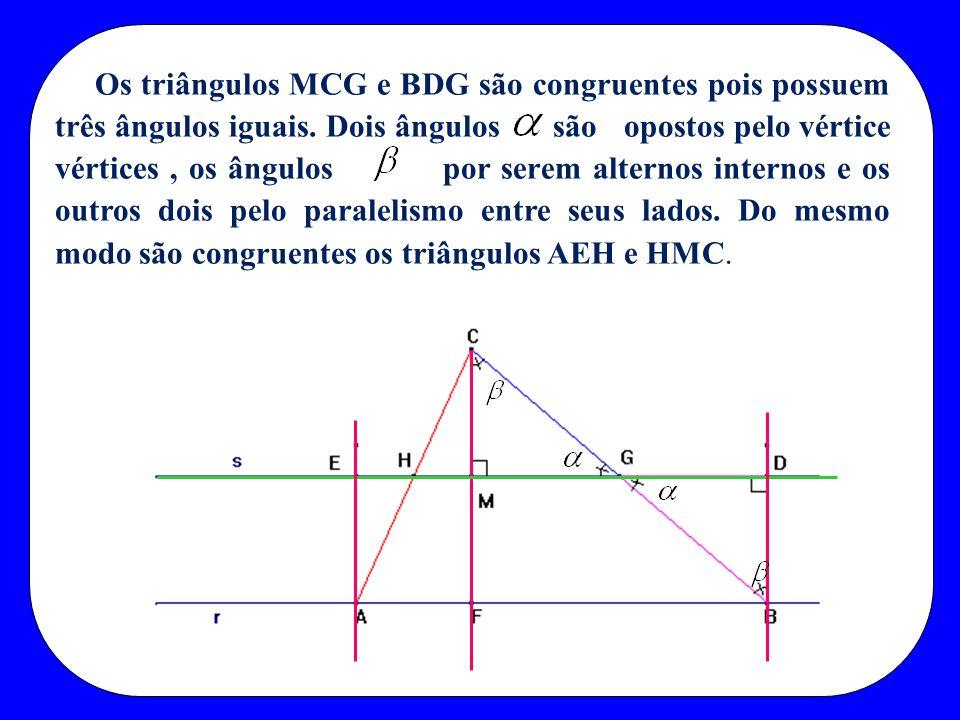 Os triângulos MCG e BDG são congruentes pois possuem três ângulos iguais. Dois ângulos são opostos pelo vértice vértices, os ângulos por serem alterno