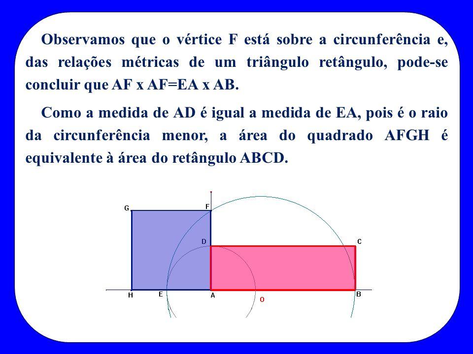 Observamos que o vértice F está sobre a circunferência e, das relações métricas de um triângulo retângulo, pode-se concluir que AF x AF=EA x AB. Como