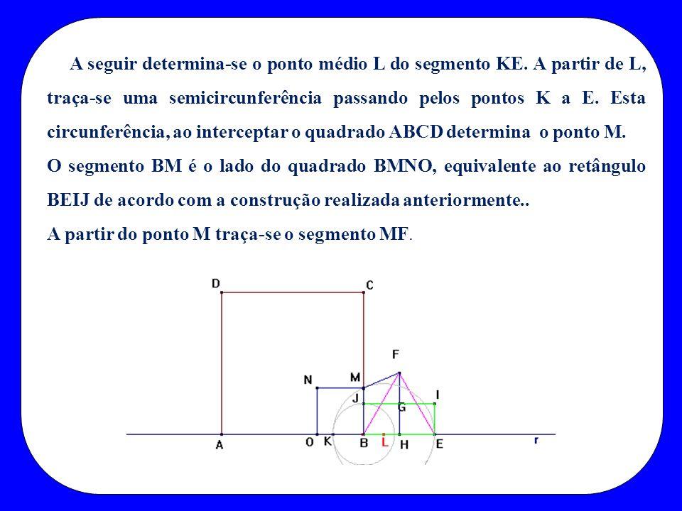 A seguir determina-se o ponto médio L do segmento KE. A partir de L, traça-se uma semicircunferência passando pelos pontos K a E. Esta circunferência,