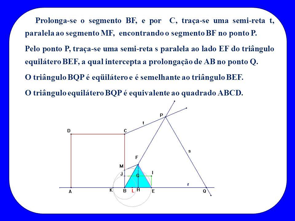 Prolonga-se o segmento BF, e por C, traça-se uma semi-reta t, paralela ao segmento MF, encontrando o segmento BF no ponto P. Pelo ponto P, traça-se um