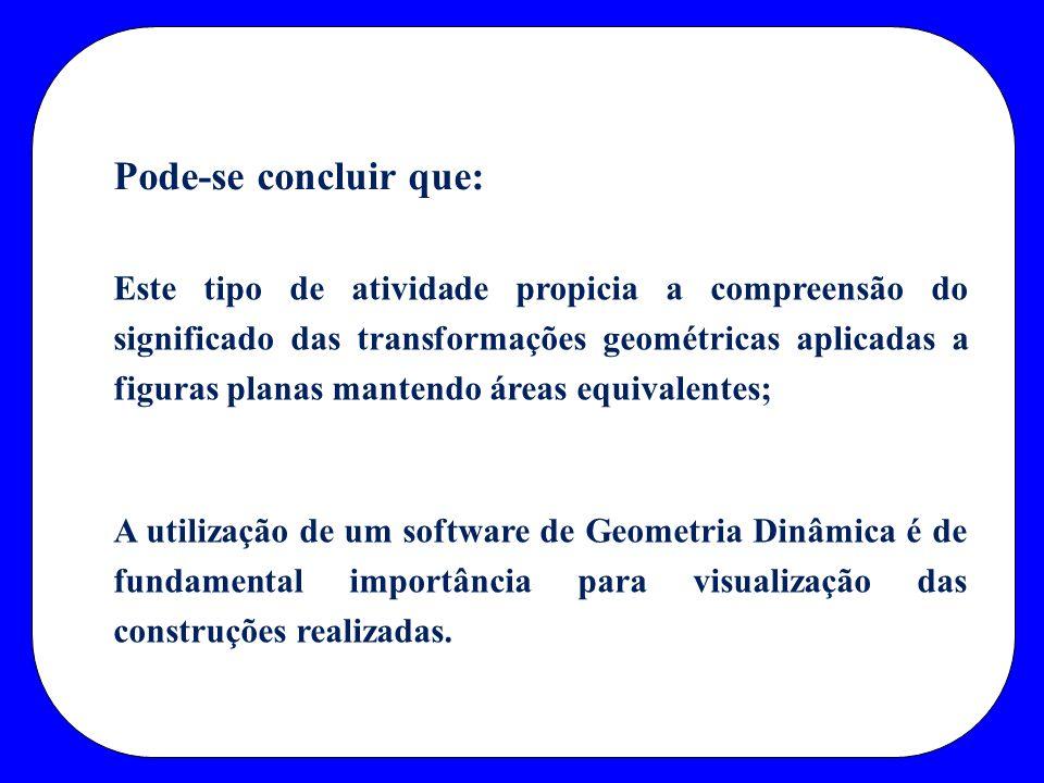 Este tipo de atividade propicia a compreensão do significado das transformações geométricas aplicadas a figuras planas mantendo áreas equivalentes; A