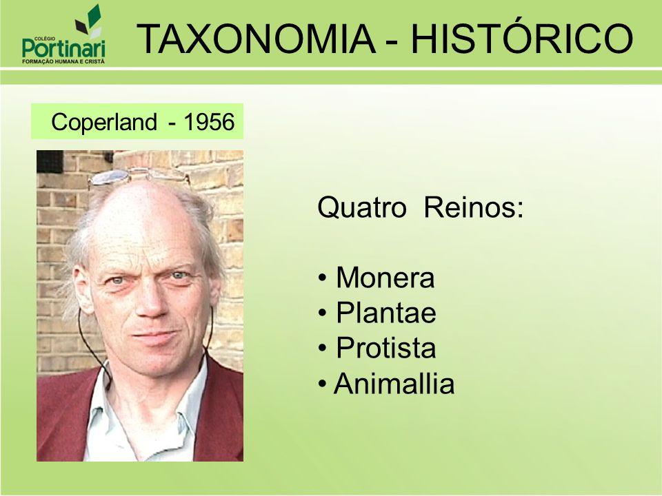 Coperland - 1956 Quatro Reinos: Monera Plantae Protista Animallia TAXONOMIA - HISTÓRICO