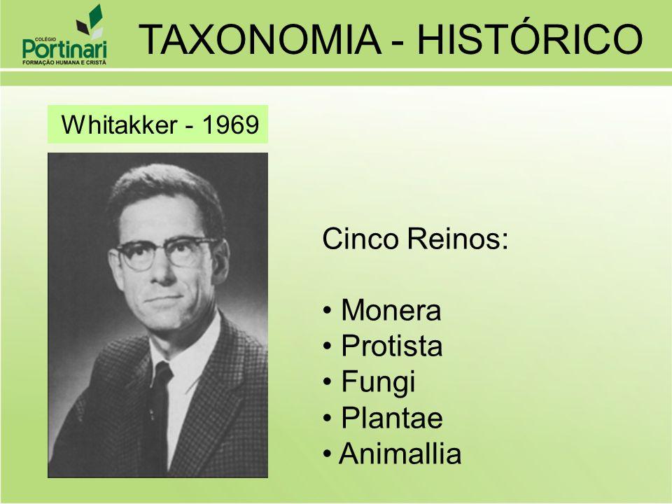 Whitakker - 1969 Cinco Reinos: Monera Protista Fungi Plantae Animallia TAXONOMIA - HISTÓRICO