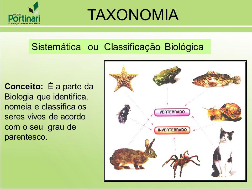 Sistemática ou Classificação Biológica Conceito: É a parte da Biologia que identifica, nomeia e classifica os seres vivos de acordo com o seu grau de